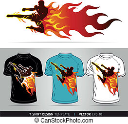 Boxing sport with fire T-shirt design Vector illustration