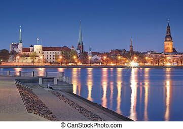 Panorama - Quay of Daugava river in Riga, Latvia