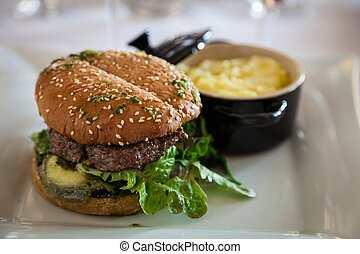 Gourmet Organic Cheeseburger - Gourmet organic cheeseburger...