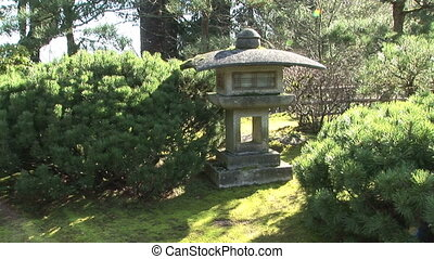 Japanese Stone Lantern - Zoom in of a traditional stone...