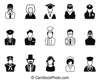 Occupations, Avatars ,User Icons set - isolated Occupations,...