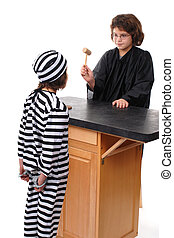 Order in the Court - A robed elementary girl bringing down a...