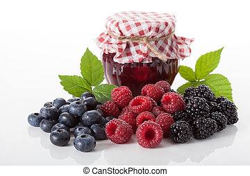 Berry homemade jam - Composition of fresh berries with the...