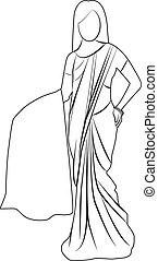 Saree outline illustration isolated - Saree outline...