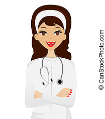young woman doctor on white background, vector illustration