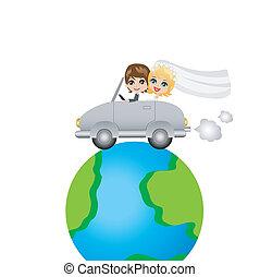 beautiful groom with fiancee go in a wedding trip on a car,...