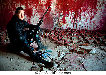 Snipers life - Sniper with rifle and money on the bloody...