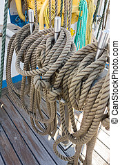 Elements of equipment of a yacht - Rope control the sails,...