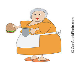 complete elderly woman with open sandwich and mug in...