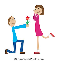 boy gives a flower to the girl