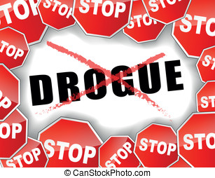 Stop drugs french illustration