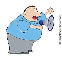 complete elderly man yells in a megaphone,vector...