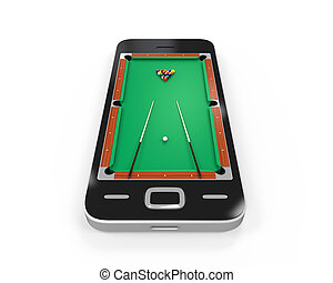 Pool Table in Mobile Phone isolated on white background 3D...