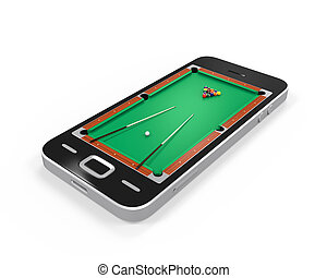 Pool Table in Mobile Phone isolated on white background. 3D...