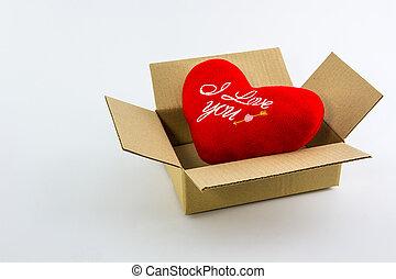 Red heart in brown box - Red heart in brown box isolate on...