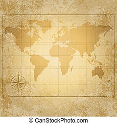 vintage vector world map with compass