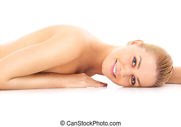 Sensual naked woman - Young sensual naked woman lying on the...