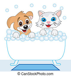 merry kitten and dog bath in bath, vector illustration