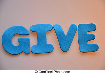 give - word give on a abstract background
