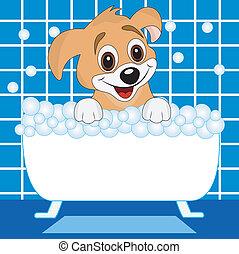 merry dog bathes in bath