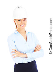 Woman in white helmet - Young woman in white helmet over...