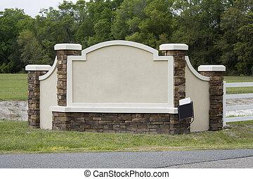 housing development entrance sign - upscale blank entrance...