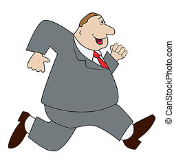 thick business man hurries, vector illustration