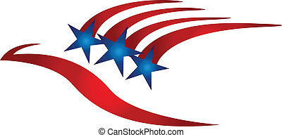 USA eagle flag logo symbol - USA eagle flag vector symbol