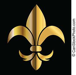 Fleur de Lis emblem logo vector icon