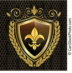 Shield and Fleur de Lis emblem logo - Shield and Fleur de...