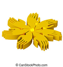 Hands teamwork people 3D gold icon