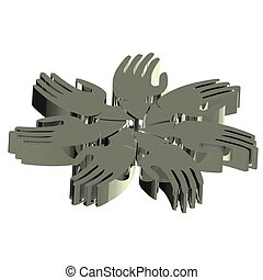 Hands teamwork people 3D gray icon