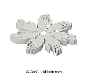 Hands teamwork people 3D grey logo - Hands teamwork people...