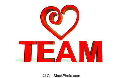 3D Team word and heart. Isolated white background.