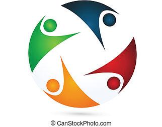 equipo, vector, logotipo