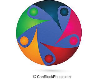 Teamwork diversity logo - Teamwork around world logo vector