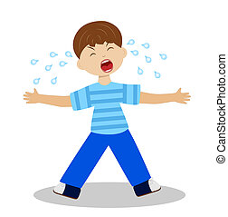 whining boy on a white background, vector illustration