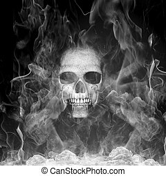 Human skull with smoke - 3d rendered illustration of Human...