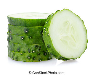 cucumber on white background, isolated, close-up