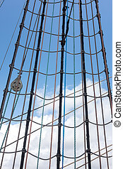 Sailing vessel - Marine rope ladder at pirate ship Sea hemp...