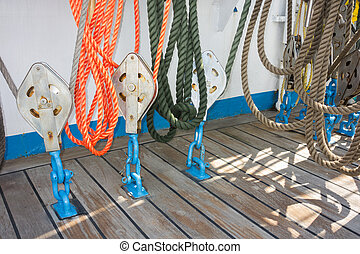 Elements of equipment of a yacht - Pulleys that hold and...