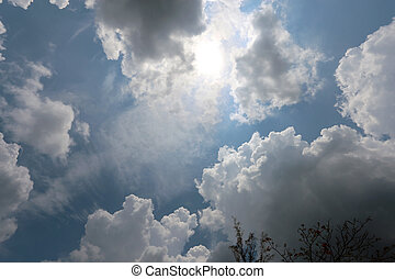 cloudy sky in the background of the sun and blue sky