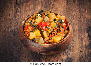 Vegetable Ragout in a wooden bowl