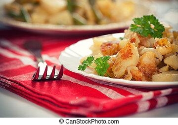 Fried potatoes on a plate