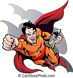 Hero at work - Humorous illustration of flying superhero who...