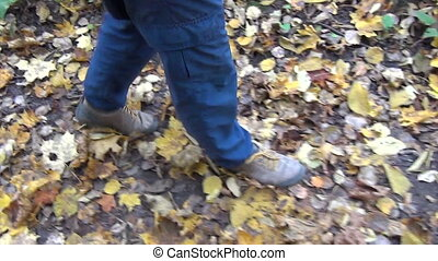 man leg autumn leaf