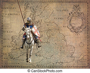 Armored knight on warhorse - retro postcard on vintage map...