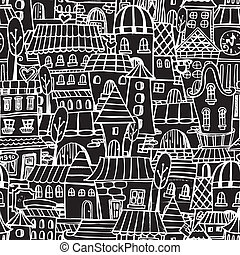 Cartoon fairy tale drawing houses seamless pattern - Cartoon...