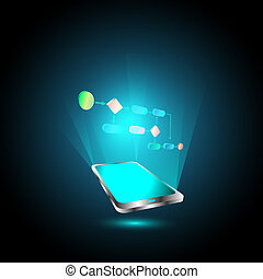 Mobile technology business process - Vector Illustration of...