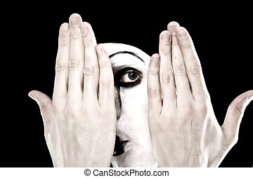 Portrait of the mime on a black background